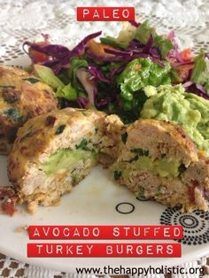 PALEO Avocado-Stuffed Veggie-Explosion Turkey Burgers! - thehappyholistic