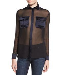 Long-Sleeve Button-Front Safari Blouse, Black/Ink