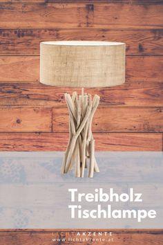 """Die Landhaus Tischleuchte mit Holzfuß und runden Lampenschirm findest du bei Lichtakzente. Die Tischlampe """"Driftwood"""" trägt zur gemütlichen Beleuchtung im Esszimmer, Wohnzimmer, Schlafzimmer, Flur oder in einem Hotelzimmer bei. Lampe Tisch, Tischleuchte aus Treibholz // #leuchte #wohnen #beleuchtung #licht #interiordesign #lampen und leuchten #lichtakzente Interiordesign, Driftwood, Lighting, Home Decor, Modern Light Fixtures, Bedroom Lamps, Decoration Home, Light Fixtures, Room Decor"""