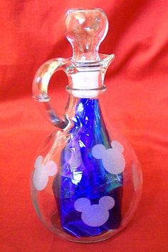 MICKEY MOUSE Glass Syrup Bottle with Stopper Top. $12.50, via Etsy.