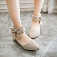 Women's Nude Ankle Strap Bow Pointed Toe Comfortable Flats image 3 - for women sites Cute Shoes Heels, Fancy Shoes, Pretty Shoes, Sock Shoes, Pump Shoes, Shoe Boots, Women's Shoes, Red Shoes, Mules Shoes