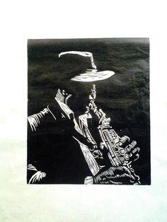 Xilogravura, série Jazz. Philipe Marchiolli