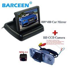 "[Visit to Buy] higst night vision car rearview  camera+car reversing monitor universal 4.3"" display fit for Hyundai new Santafe Santa Fe Azera #Advertisement"