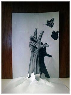 ramon bruin 3d brazo saliendo del papel