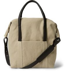 Maison Martin MargielaLeather-Trimmed Cotton-Canvas Holdall Bag