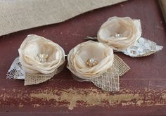 Rustic Bridal Clips Champagne Flower Pins Wedding by NoviaBellaTS