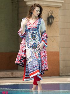 Buy Blue/White Printed Cotton Lawn Dress by Monsoon Lawn 2015 Collection.