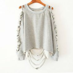 $7.78 Cut Out Solid Color Long Sleeves Cotton Blend Casual Style Sweatshirt For Women