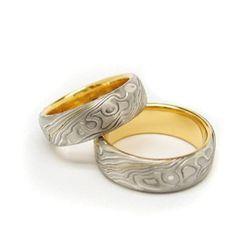 "Tina Aspiala for AU3 Kultasepät ~""Mokume Gane"" rings, White gold and yellow gold.   AU3.fi"
