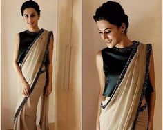 Taapsee's Got The Saree Sorted.... No more tucking the blouse on one side and looking after the bra straps falling out – Taapsee's got your saree sorted with this lovely sleeveless kurta worn as a blouse underneath Pranati and Sahib saree... Shop at https://www.estrolo.com/inspirationapp/taapsees-got-saree-sorted-2/