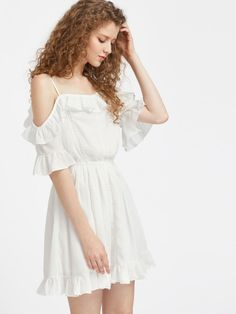 Cold Shoulder Fluted Sleeve Lace Insert Ruffle Dress