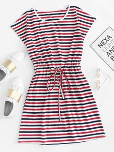 Korean Fashion Tips Drawstring Waist Striped DressFor Women-romwe.Korean Fashion Tips Drawstring Waist Striped DressFor Women-romwe Girls Fashion Clothes, Teen Fashion Outfits, Cute Fashion, Look Fashion, Girl Fashion, Fashion Dresses, Fashion Styles, Korean Fashion, Fashion Tips