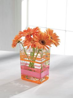 Fun vase ... Love the pink and orange together!
