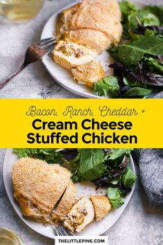 This baked cream cheese stuffed chicken blends creamy cheesy bacon and ranch goodness inside a succulent flavorful foul for happiness on a plate! #creamcheesestuffedchicken #stuffedchicken #ketostuffedchicken #lowcarbstuffedchicken #ketochicken #lowcarbchicken #creamcheese