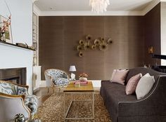Sumptuous Chocolate Grasscloth in a Living Room by Redmond Aldrich Design