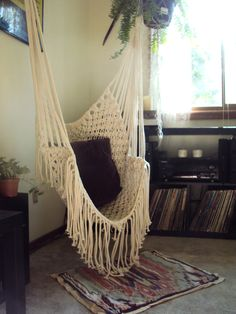I have a sitting hammock..outside then when summer is over we bring it inside. Hubby love  puts big hooks in our vaulted ceiling great room and one in my writer's nook too. Love the peaceful feel while I rock, contemplate and meditate.
