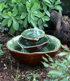 ~ Ceramic Garden Fountain ~ Natural leaf design ~ Handmade and Fair Trade ~