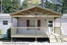 81eceeff314cdf49999d908a774926a1--mobile-homes-porches Ramp Double Wide Mobile Home Porch on double wide with aluminum roof, double wide front porch ideas, beach house porch, cape cod porch, two story porch,