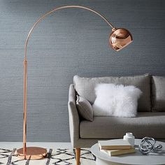 "$359, 77.5"" tall Copper Finish Lounge Floor Lamp"