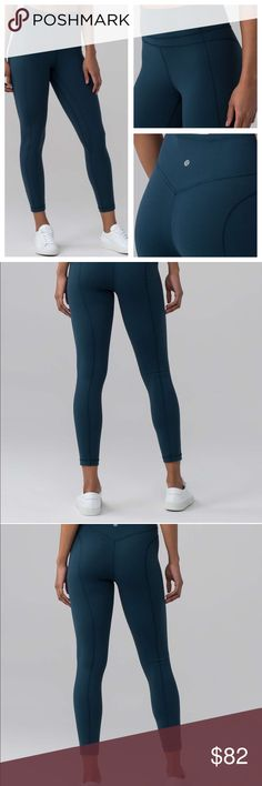Lululemon Pushing Limits 7/8 Tight Size 4 Beautiful blue color as seen in real pics. Only wore once and decided didn't want to keep.  Size 4 NO DAMAGE! Price firm❗️(Please consider Posh takes 20%) ‼️Will sell for $85 elsewhere‼️ Nulu material NO LONGER SOLD! lululemon athletica Pants Leggings