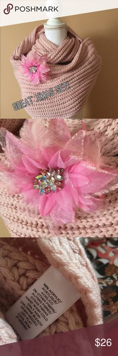 Pink infinity scarf and flower Pink infinity scarf and flower pin/hair decoration.  The flower can be used for multiple uses.  What a wonderful gift this makes.  Earrings to match would also be custom.  Earrings start at $10. Accessories Scarves & Wraps
