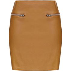 TOPSHOP **PU skirt with zippers by Glamorous ($36) ❤ liked on Polyvore featuring skirts, tan, topshop, topshop skirts, zip skirt, brown skirt and tan skirt