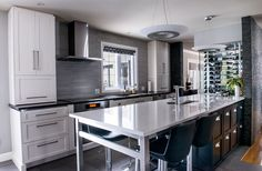 white painted shaker doors, with quartz countertop, along with stainless steel legs and a great backsplash Kitchen Cabinet Design, Kitchen Cabinets, Architecture Durable, Shaker Doors, Cuisines Design, Quartz Countertops, White Paints, Backsplash, House Design