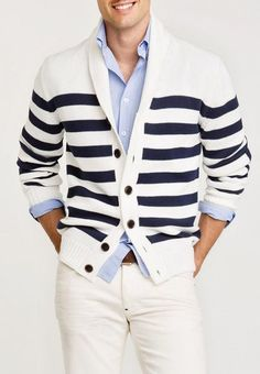 Nautical stripes over thick, blue shirt. Fun and casual Sharp Dressed Man, Well Dressed Men, Fashion Mode, Mens Fashion, Fall Fashion, Petite Fashion, Curvy Fashion, Style Fashion, Casual Wear