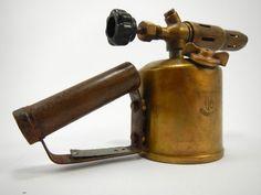 Vintage Brass Blow Torch, Gasoline Blowtorch, German Blowtorch, Antique Tool.