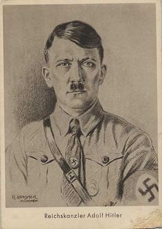 Adolf Hitler art picture postcard unused corner fault.