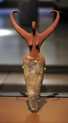 """Bird Lady"" a Neolithic Egyptian ceramic, Naganda IIa Predynastic 3500-3400 BCE, Brooklyn Museum"