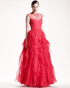 Rosette-Top Voulant Gown by @Maison Valentino