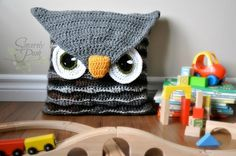 Owl Pillow Cover and Sleepover Bag crochet pattern.  Perfect for a little boy or girl's room! Pattern by Sincerely Pam www.ravelry.com/designers/sincerelypam