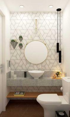 Bad Inspiration, Bathroom Inspiration, Bathroom Interior Design, Interior Design Living Room, Modern Bathroom, Small Bathroom, Modern Powder Rooms, Amazing Bathrooms, Home Decor