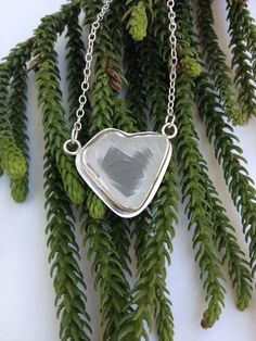 White Crystal Sea Glass Necklace with Heart made by bridgetturner