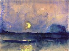 """dappledwithshadow: """" Crescent Moon above the Sea Emil Nolde circa 1945 Private collection Painting - watercolor Height: 19.8 cm (7.8 in.), Width: 26.5 cm (10.43 in.) """""""