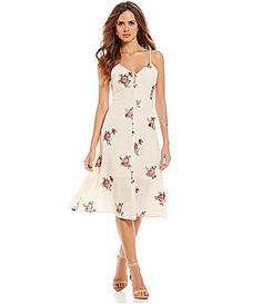 $109 Gianni Bini Sloan Embroidered Button Front Slip Floral Dress #Dillards
