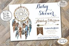 Beautiful baby shower invitation. This dream catcher design is perfet for a boho inspired baby shower.   Our templates are easy to edit with acrobat Reader. Just edit any of the text, print them out on any card stock paper, and send them on their way! INSTANT DOWNLOAD - Boy Blue Brown Triball Aztec Dream Catcher Printable Baby Shower Invitation  0447.  Find more coordinating printables at JanePaperie: https://www.etsy.com/shop/JanePaperie
