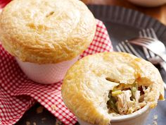 Chicken, asparagus and leek pot pies, chicken recipe, brought to you by Woman's Day Chicken And Leek Pie, Chicken Asparagus, Pie Recipes, Chicken Recipes, Cooking Recipes, Cooking Ideas, Freezer Friendly Meals, Sausage Rolls, Frozen Meals