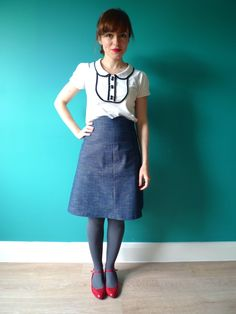 Tilly and the Buttons: My Denim Ginger Skirt The blog post is about the skirt, but I really love the blouse!