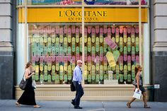 L'Occitane Cologne windows designed by sheridanandco art deco, pattern, stained glass effect