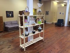 Shelving going up Ladder Bookcase, Store Fronts, Shelving, This Is Us, Building, Baskets, Home Decor, Homemade Home Decor, Shelves