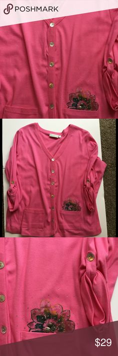 NWOT Bold Pink V-Neck w/hand painting size XL Soft knit that can be used over a cam i.e. Or as a stand alone top. Buttoned-Up sleeves and buttons down the front. Cute but just never wore this. LuLu B Tops