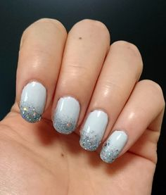OPI Cannoli Wear (light bluish gray color), 2 coats + gray gradient (made with sponge) + glitter nail polish.