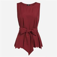 Burgundy Hem Self Belted Sleeveless Blouse Ladies Round Neck Elegant Top With Bow Work Wear Blouse