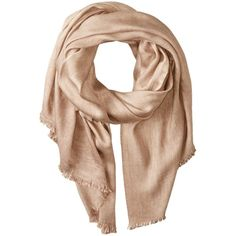 Michael Stars Women's Washed and Faded Scarf with Raw Edge Fringe ($52) ❤ liked on Polyvore featuring accessories, scarves, michael stars, fringed shawls, michael stars scarves and fringe scarves