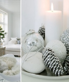 white candles, pinecones and balls