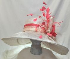 White & Coral Wide Brim Sinamay Kentucky Derby by FinchyBabyHats