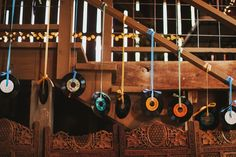 records & 45s as wedding decor | Claire & Greg's Whimsical Dance Party Farm & Vineyard Wedding in Virginia | Images: Nessa K Photography