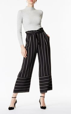 38fb1a9e9 Karen Millen, Stripe Crop Trousers Black/Multi Cropped Wide Leg Trousers,  Trouser Outfits